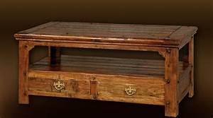 Table Basse De Salon : table basse style rustique en bois massif ~ Teatrodelosmanantiales.com Idées de Décoration