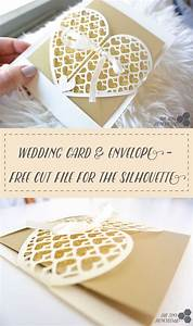 wedding card heart grid envelope free silhouette cut file With diy wedding invitations silhouette cameo