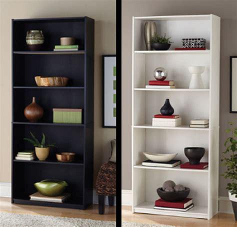 White And Black Bookcase by 5 Shelf Bookcase White Cabinet Wood Bookshelf Black