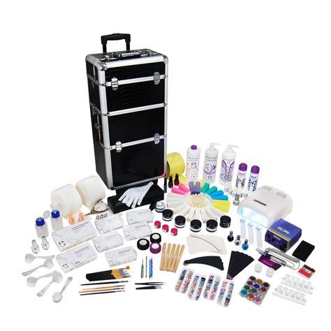 kit mobile 100 produits avec trolley manucure faux ongle gel uv nail ocibe