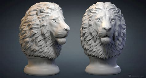 Lion head 3d model. Digital sculpture. STL, OBJ files