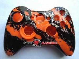 Orange Splatter Hydro Dipped Xbox 360 Controller Shell Kit