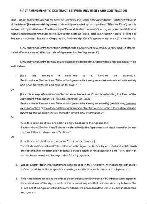 contract amendment templates word  google docs
