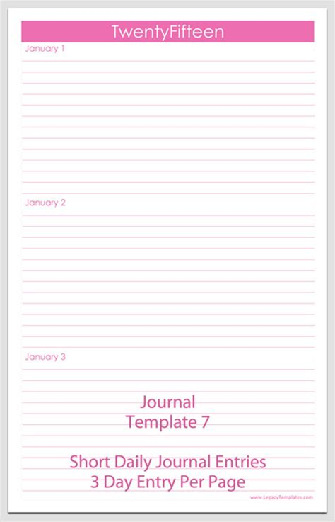 journal templates printable pdfs legacy templates