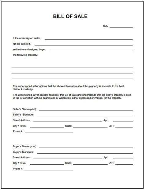 bill ofsale blank simple printable bill of sale form template pdf