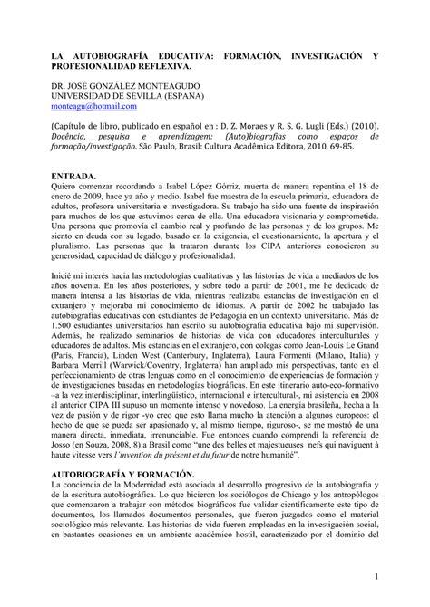 (PDF) La autobiografía educativa: formación, investigación