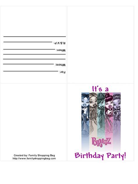 bratz birthday party ideas bratz printable cards