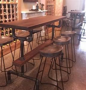 Industrial Farmhouse Bar Height Kitchen Table - The