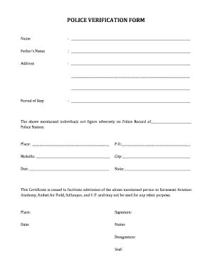 police verification form fill  printable