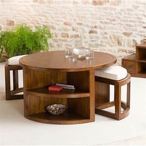 Table basse ronde 2 tabourets avec coussins Meubles Macabane meubles et objets de décoration