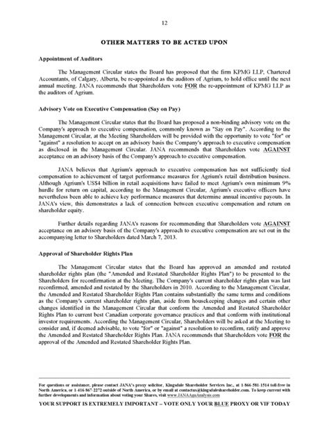 non engagement letter 12 other matters to be acted upon appointment of auditors 34087
