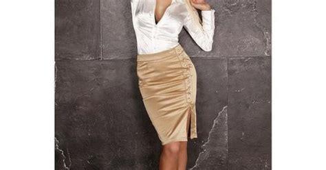 Gold Satin Pencil Skirt White Satin Blouse Sheer Pantyhose