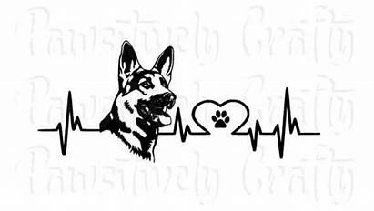 German Shepherd Dog Vinyl Paw Heartbeat Heart