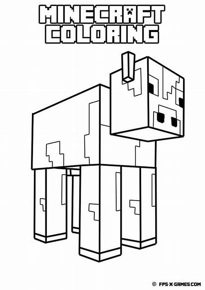 Minecraft Coloring Wolf Creeper Printable Cow Lego
