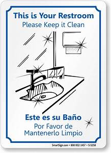 bilingual keep restroom clean sign best prices sku s 5258 With clean the bathroom in spanish