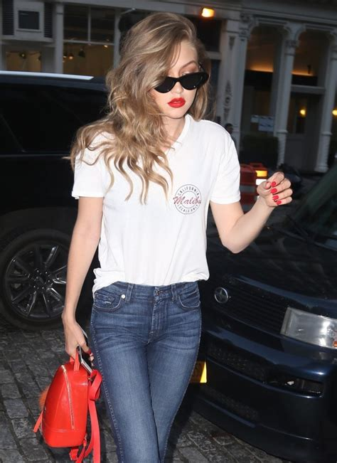 gigi hadid red nail polish nails lookbook stylebistro