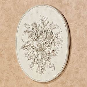 Floral Bouquet Relief Oval Wall Plaque