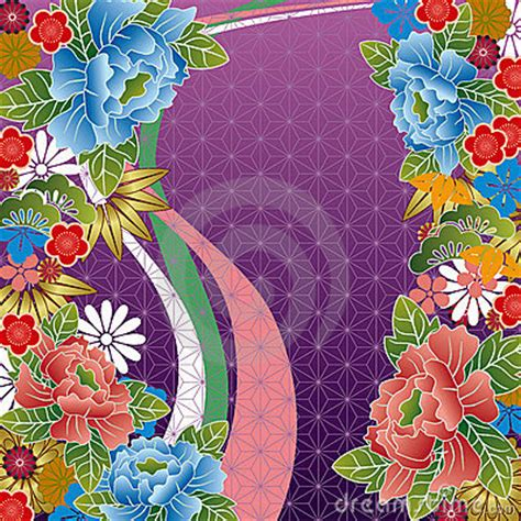 japanese traditional floral pattern royalty  stock