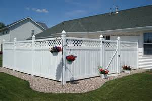 Back Yard with White Vinyl Privacy Fence