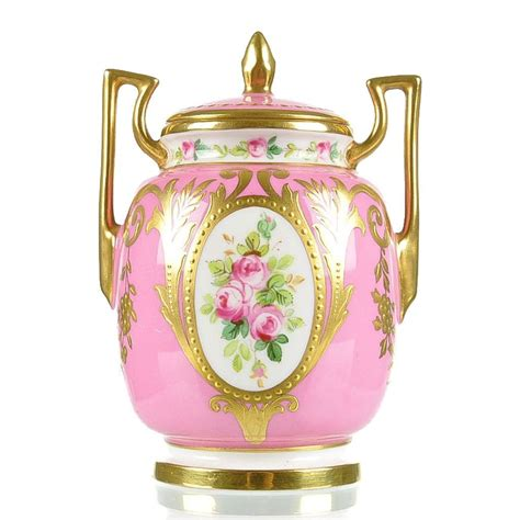 Pink Vase by Minton Painted Pink Porcelain Vase With Raised