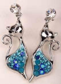 crystal cat modern earrings  colors crazy aunt karens