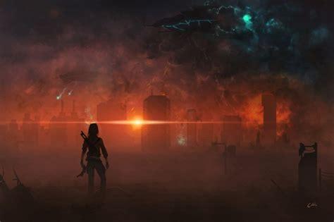 wallpaper alien invasion fire destruction fantasy world