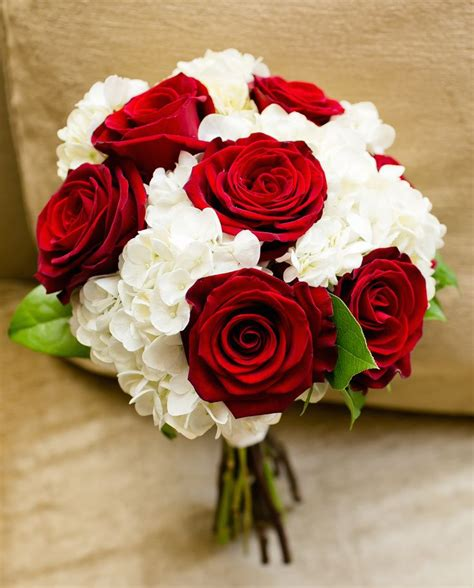 Red Roses And White Hydrangeas Classic Bouquet For A Fall