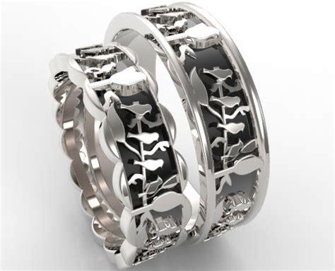unusual his hers wedding band birds leaves design vidar jewelry unique custom