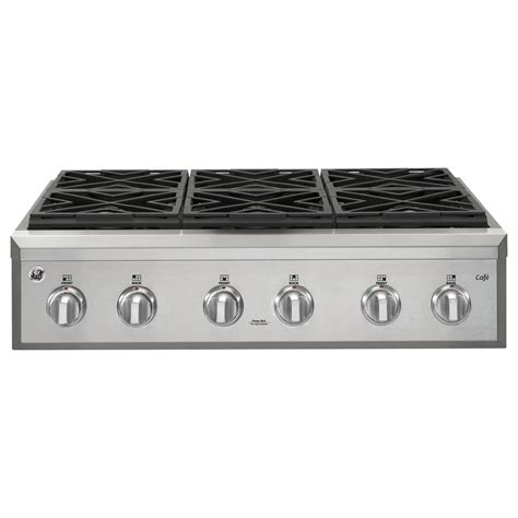 shop ge cafe  burner gas cooktop stainless steel common   actual    lowescom