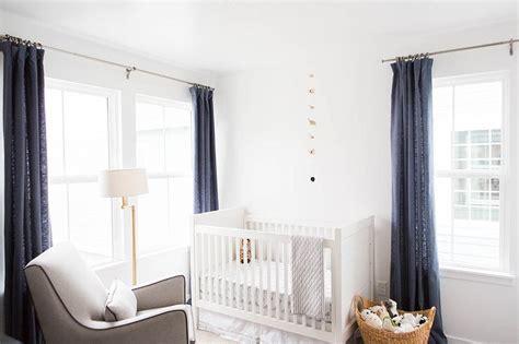 nursery  blue linen curtains transitional nursery