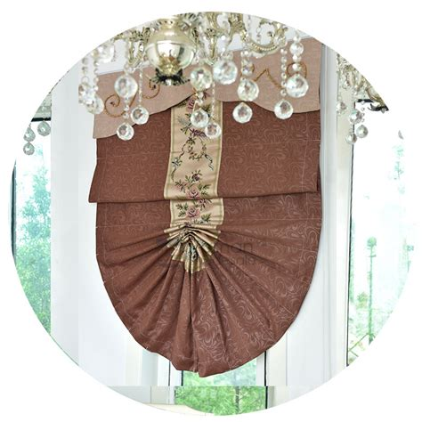fan shaped window shades blackout brown fan shaped thermal roman shades with valance