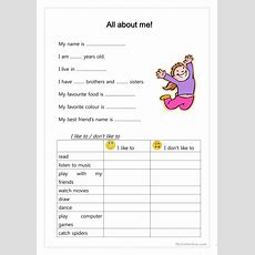 All About Me! Worksheet  Free Esl Printable Worksheets Made By Teachers