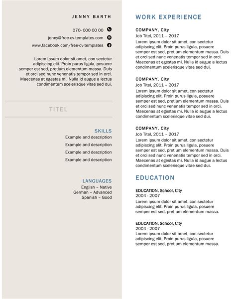 Formal Resume Template by Creative And Formal Cv For Free Free
