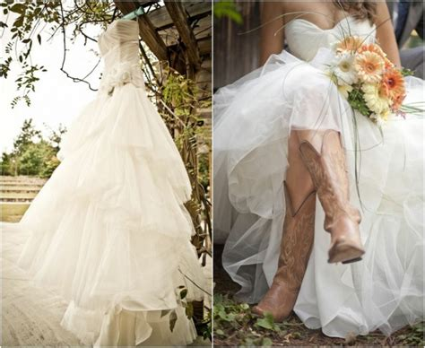 Barn Wedding Dresses : Rustic Wedding With Bridesmaids In Cowboy Boots