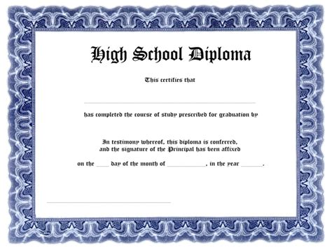 High School Diploma Template Blank High School Diploma Template Free Printables