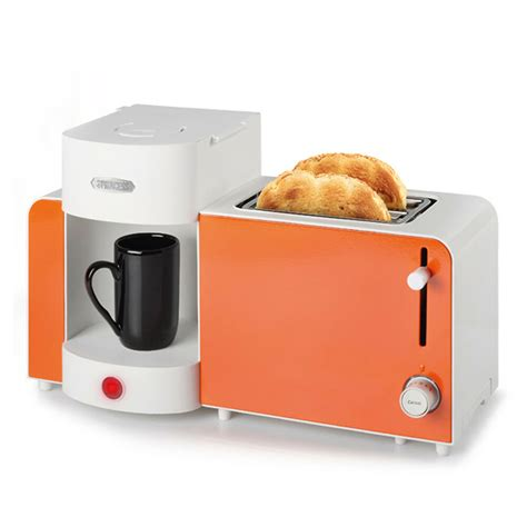in toaster princess 252183 orange color 2 in 1 coffee maker bread