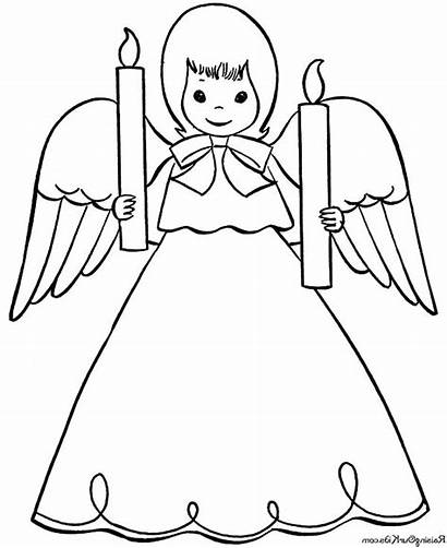 Coloring Angel Christmas Pages Candle Angels Bring