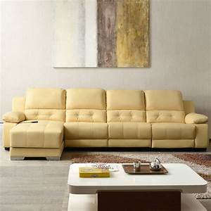 Beige power driven recliner sectional sofa in genuine for Genuine leather sectional sofa with chaise