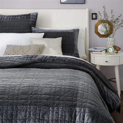 bordered grey velvet quilt  shams