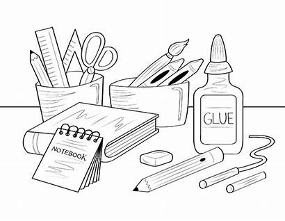 Coloring Supplies Pages Printable Supply Clip Drawing