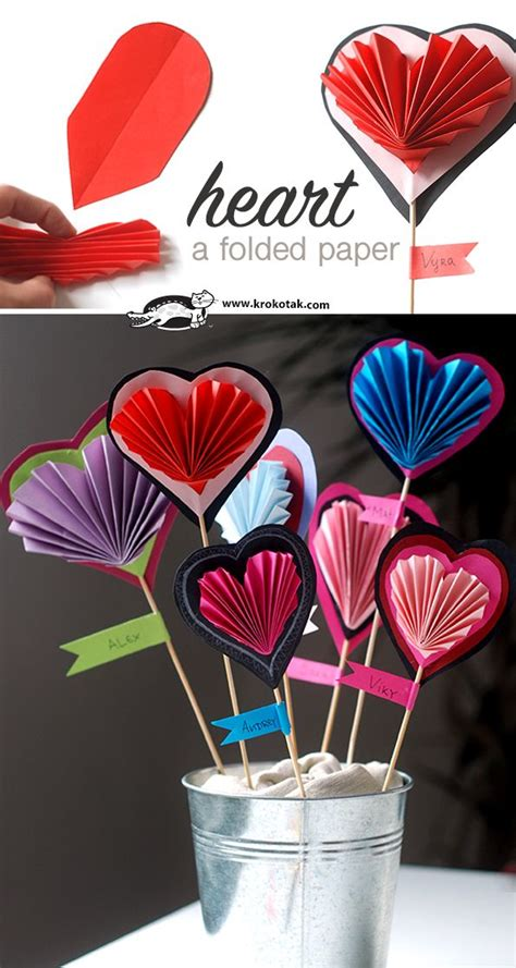 folded paper heart craft  kids  izobrazheniyami