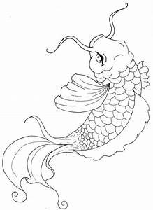 Drawn koi carp japanese - Pencil and in color drawn koi ...