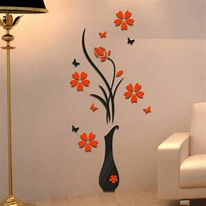 Whism 3d wall sticker flower acrylic vase plum butterfly for What kind of paint to use on kitchen cabinets for butterfly wall art stickers