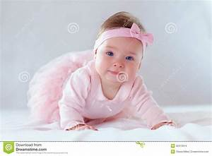 Pretty Baby Girl In Pink Dress Stock Photo - Image of ...
