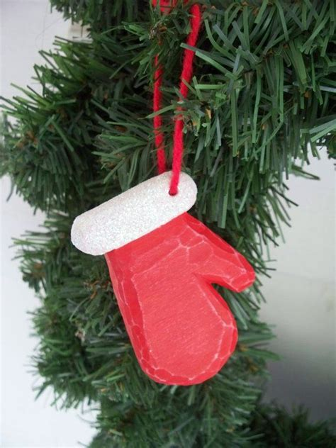 hand carved christmas mitten ornament  dgcreative