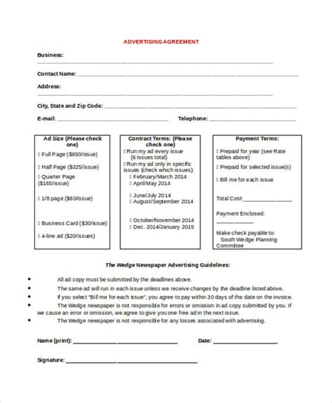 advertising contract template  word  google docs