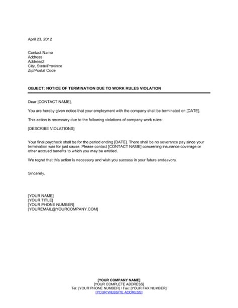 notice  termination work rules violation template