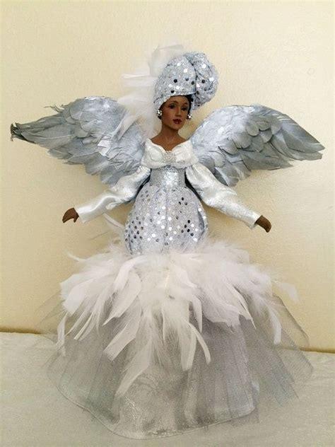 african american christmas angel silver sparkle ooak black