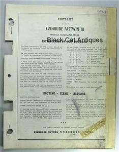 Original 1957 Evinrude Fastwin 18 Hp Parts List Models