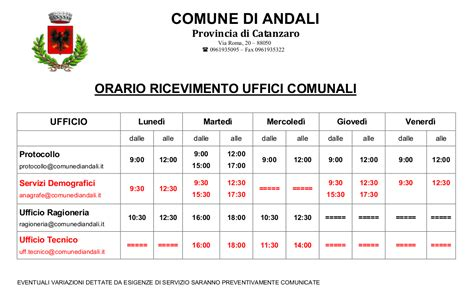 Orari Uffici Comune by Comune Di Andali Uffici